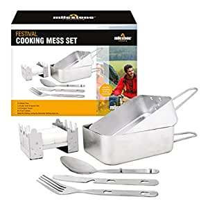 Milestone Camping 66000 Festival Cooking Set Folding Solid Fuel Stove Fork Knife Spoon 2 x Mess Tins, Silver