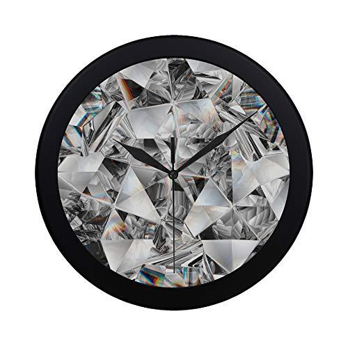 WYYWCY Moderne einfache glänzende Edelstein Diamant Wanduhr Indoor Sweep Bewegung Clcok für Büro, Badezimmer, Wohnzimmer dekorative 9,65 Zoll -