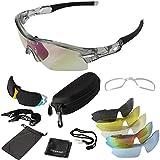ONVAYA Polarisierte UV400 Sportsonnenbrille mit 5 13 Teilig Sportbrille Radbrille