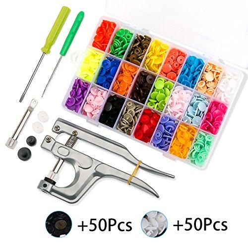 460Pcs 24 Colores T5 Snaps Plástico Corchetes de Presión con Alicates Botones Presion para DIY Manualidades
