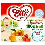 Vache & Portail Pomme, Abricot Et Fraise 100% De Fruits Avec De La Vitamine C À Partir De 4-36 Mois 4 X 100G