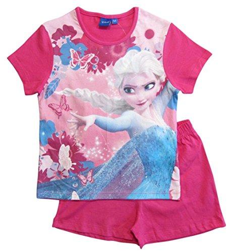Kurze Mädchen Pyjamas (Frozen Pyjama Kollektion 2018 Ökotex Standard 100 Die Eiskönigin 98 104 110 116 122 128 Schlafanzug Shortie Kurz Anna Elsa Shorty (Fuchsia, 104 - 110))