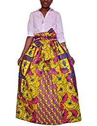 228bbf04b597 Huateng Stampa Floreale Africana delle Donne Casual A-Line Maxi Gonna Gonna  Svasata Multisize Abito