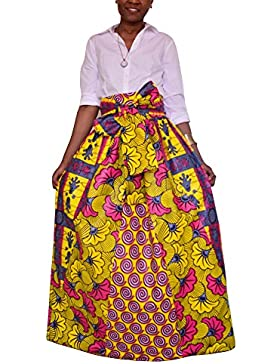 Falda acampanada africana de la impresión floral africana de las mujeres ocasionales de la falda acampanada Multisize...