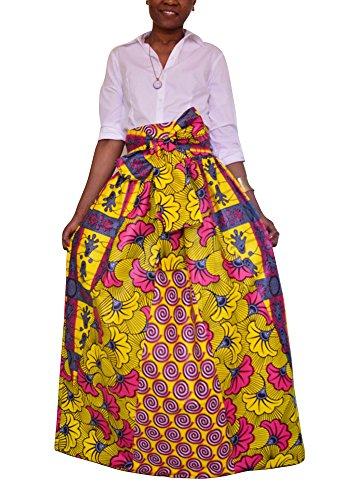 Frauen Deluxe African Print Sexy Party Lange Maxi Rock Mit Tasche Lose (Kente Rock)