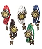 EBI Designer Vintage Analogue Combo Offer Set of 5 Butterfly Bracelet Multicolour Watch for Women B-5_Red-Brow-White-Green-Blue
