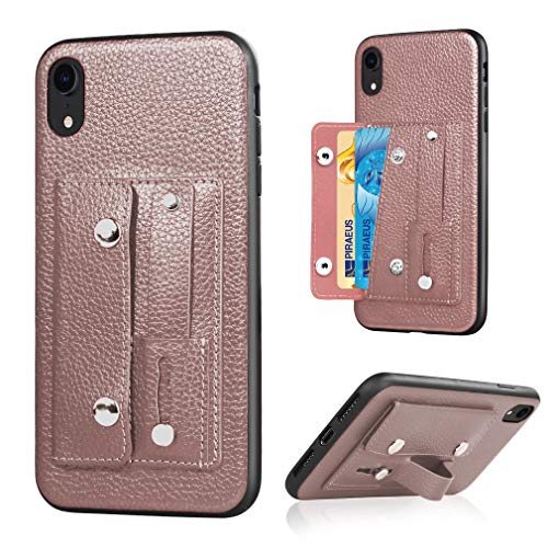 Quick Win iPhone XR Hülle, echtes Leder Wallet Fall Schutzhülle für Apple iPhone XR mit Side Cash Pocket und Stand Feature (uk-pink) MEHRWEG