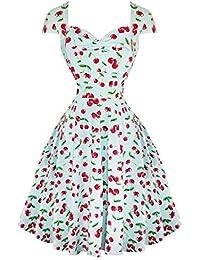 Hell Bunny April Cherry Imprimé Rétro Vintage Années 1950 Fête Été Soleil Robe Évasée