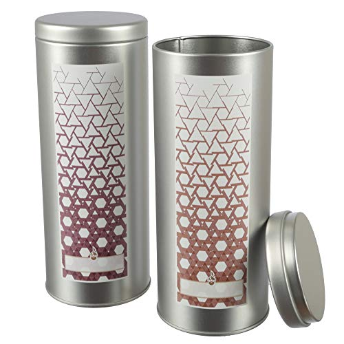 2x Lata/café Pad Tarro, Incluye 2. Etiquetas para Escribir | herméticas de Metal para 250g | 19.3x 7.5cm (H, Diámetro), también Ideal como té de, Lata para harina o watte Pad dispensador