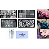 24x7 eMall 4 Pieces Nail Art Kit with Stamper and Scraper Included.(Random Designs) Perfect for Beginners