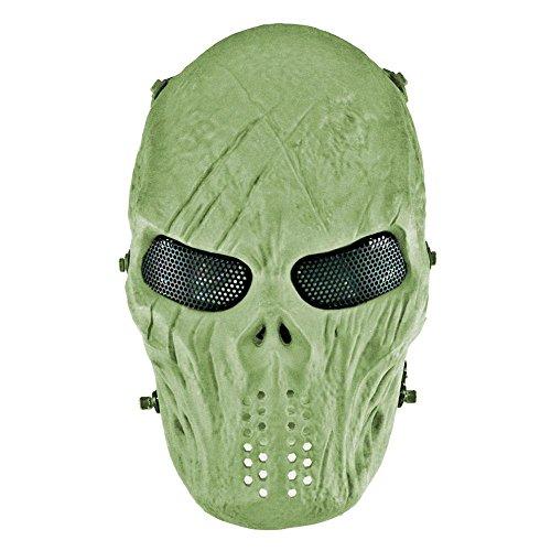 Leegoal Airsoft Full Face Skull Maske mit Metall Mesh Eye Schutz für CS Überleben Spiele Masquerade Halloween Cosplay–Outdoor Ghost Maske Army Herren & Frauen Zombie Scary Skelett Masken für Kostüm, 7#