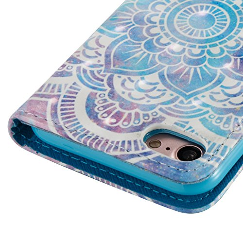 Cover iPhone 7, Custodia iPhone 8 Pelle Brillantini, Surakey Elegante Flip Portafoglio Cover Custodia per iPhone 7 / 8 Apple a Libro Con Strass Bling Glitter Antigraffio Protezione Posteriore iPhone 8 Mandala