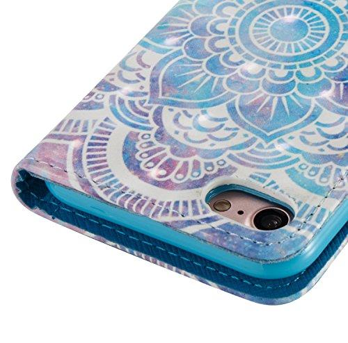 iPhone 7 Custodia in pelle,iPhone 7 Cover Wallet,Felfy Elegante Colorate Gufo Printed Design Flip Cover Chiusura Magnetica Custodia Copertura di Vibrazione Portafoglio Stile del Libro con Cinturino da Mandala