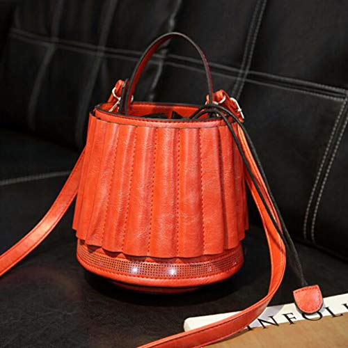 Y-H-X Umhängetasche damenHandtaschen Runde Licht Persönlichkeit Handtaschen Vintage Retro Laterne Form Eimer Taschen Damenmode Handtaschen,Orange
