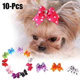 Arcos de Pelo de Perro, Legendog 10Pcs Pet Hair Arcos Polka Dot Cristal Mascota Pet Tie Pet Supplies para Perros y Gatos