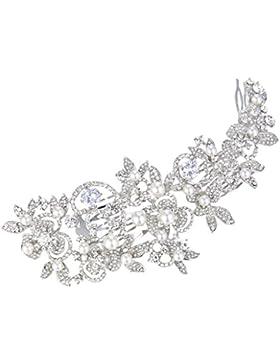 EVER FAITH® CZ österreichischen Kristall künstlich Perl elegant Haarkamm Haarschmuck Silber-Ton N06700-1
