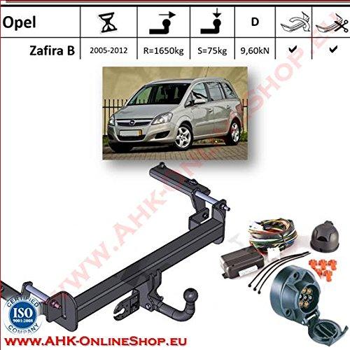 AHK Anhängerkupplung mit Elektrosatz 7 polig für Opel Zafira II 2005- Anhängevorrichtung Hängevorrichtung - starr, mit angeschraubtem Kugelkopf