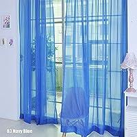 Rungao, color floral, visillo de gasa para decoración del hogar, puertas, ventanas, paño de cortina simple, cenefa, alzapaños., azul marino, Navy Blue