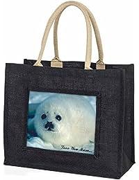 White Sea Lion 'Love You Mum' Large Black Shopping Bag Christmas Present Idea