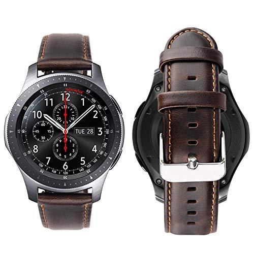 iBazal Gear S3 Frontier Classic Correa Cuero Piel 22mm Compatible con Samsung Galaxy Watch 46mm Reemplazo para Huawei GT/2 Classic/Honor Magic,Ticwatch Pro Hombres Reloj Band (Reloj No Incluido)- Café