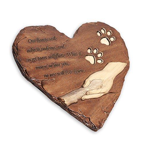 JHB Gedenktafel für Haustiere Stepping Stein Herz Form 22,9cm für Garten Decor Indoor Outdoor Hund für Garten Backyard Marker Grave Grabstein (braun)