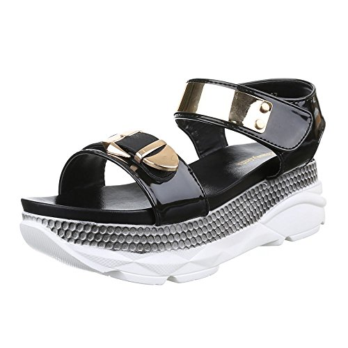 Damen Schuhe, H213, SANDALEN PLATEAU Schwarz