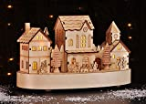 Weihnachtsdorf Deko Weihnachten mit LED Licht Beleuchtung Weihnachtsstadt aus Holz