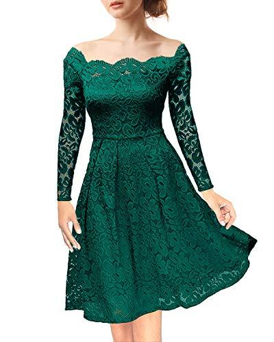 NALATI Pizzo Floreale Vintage Fuori Maniche Lunghe Cocktail Partito di Sera  Femminile Elegante Vestito da Swing d4386f491ec4