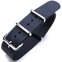 NATO Watch Band 20mm Heat Sealed G10 Nylon, Polished Buckle, Colour Navy