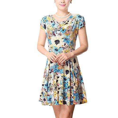 Damen Vintage Rockabilly Ärmelloses Swingkleid Abendkleid Blumenmuster Sommerkleid Printkleider Blau Gelb