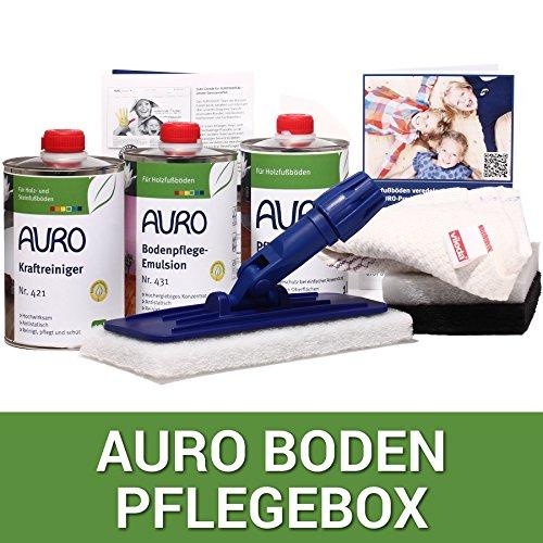 Bioraum Pflegebox für Holzböden mit AURO Kraftreiniger, AURO Pflegeemulsion, AURO Pflegeöl,...