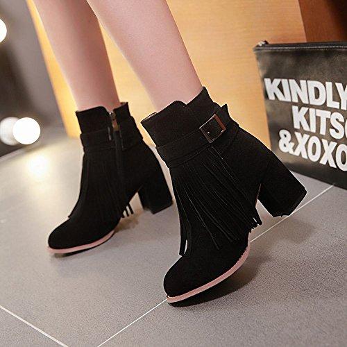 Mee Shoes Damen Reißverschluss Quaste chunky heels kurzschaft Stiefel Schwarz