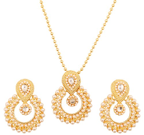 Touchstone Indian Bollywood Elite Mughal Kundan Polki Look Chandbali Moon Faux Pearls Bridal Designer Jewelry Pendant Set In Gold Tone For Women  available at amazon for Rs.429