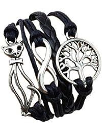CargoMix Armband Unendlichkeit Baum des Lebens Katze Schwarz / Infinity /Kabel mehrschichtige Armband