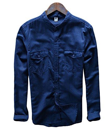 Icegrey Camicia Uomo Con Collo Coreana Camicie Di Lino a Maniche Lunghe Colore Solido Camicie Da Spiaggia Profondo Blu