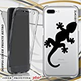 CUSTODIA COVER CASE GECKO NERO PER IPHONE 7 PLUS FRONT BACK TRASPARENTE