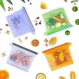 Lebensmittel Beutel Koch Beutel Küche Beutel Wiederverwendbare aus Silikon für Obst Gemüse Milch Snacks Fleisch | Sicher im Kühlschrank, Gefrierschrank, Mikrowelle und Geschirrspüler | Eine Umweltschutztasche Dabei (4 Packungen)