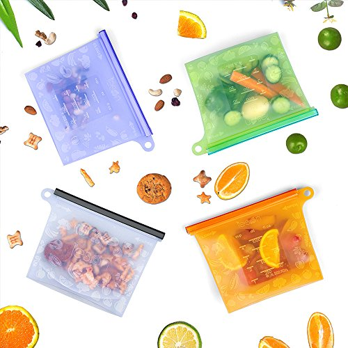 Lebensmittel Beutel Koch Beutel Küche Beutel Wiederverwendbare aus Silikon für Obst Gemüse Milch Snacks Fleisch | Sicher im Kühlschrank, Gefrierschrank, Mikrowelle und Geschirrspüler | Eine Umweltschutztasche Dabei (4 Packungen) (Beutel Unterstützen)