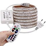 XUNATA 15M LED RGB Strip,AC 220V 230V IP65 Wasserdicht Mehrfarbig Ersetzen SMD 5050 60leds/m LED Lichtband mit 24 Tasten IR-Fernbedienung für Bar Decke Counter Cabinet Weihnachten Party Deko (15M)
