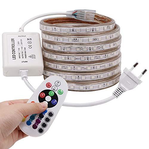 XUNATA 2M LED RGB Strip,AC 220V 230V IP65 Wasserdicht Mehrfarbig Ersetzen SMD 5050 60leds/m LED Lichtband mit 24 Tasten IR-Fernbedienung für Bar Decke Counter Cabinet Weihnachten Party Dekoration (2M)