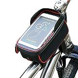 """Bicicletta Borsa iRegro Ciclismo bici Top tubo manubrio Bag Phone Holder con visiera, adatto per il telefono mobile con dimensione inferiore a 6"""", impermeabile anteriore telaio borse (Rosso e nero)"""