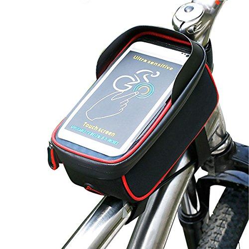 Bicicletta Borsa iRegro Ciclismo bici Top tubo manubrio Bag Phone Holder con visiera, adatto per il telefono mobile con dimensione inferiore a 6', impermeabile anteriore telaio borse (Rosso e nero)