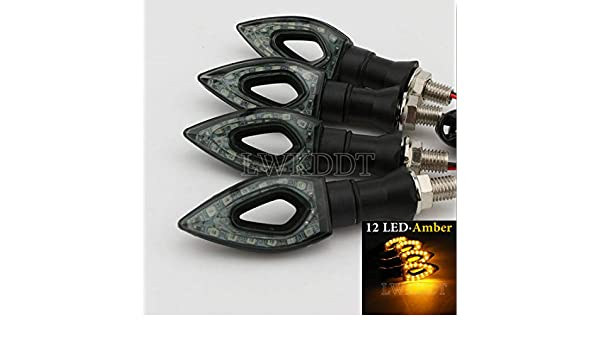 4x 12 LED Turn Signal Lights Amber For Kawasaki Ninja Samurai Avenger 250 250R