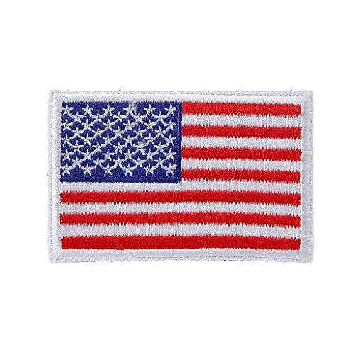 JERKKY Amerikanische Flagge gestickter Patch USA Militärische Taktische Abzeichen Rucksack Applique Weiß -