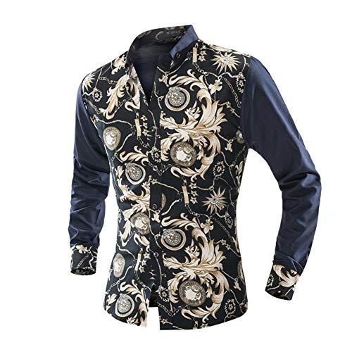 Fxwj Herren Langarm Hemd mit Luxus Taschenuhr Baroque-Motiven,Bügelleicht - Für Anzug,Freizeit,Beige,L