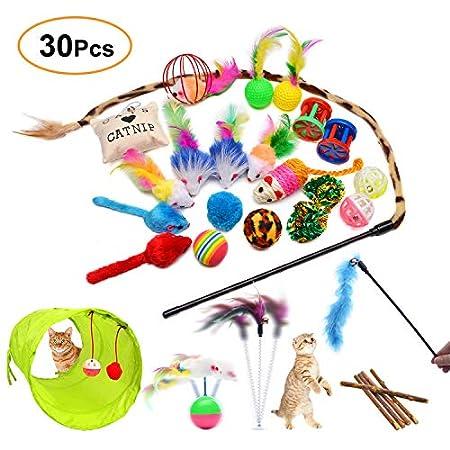 FYNIGO 30 Stück Katzenspielzeug Set mit Katzentunnel,Bälle,Federspielzeug,Plüschspielzeug,Spielzeugmäuse,Katzen…