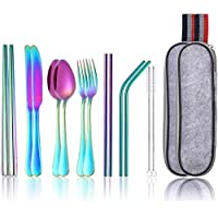 Lawei 16 Pcs Rainbow Cutlery Set Stainless Steel Travel Camping Cutlery Portable for Travel Camping Picnic Working Hiking