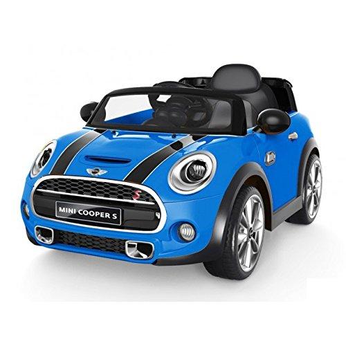 Auto elettrica 12V per bambini Mini Cooper COLORE BLU con radiocomando parentale, luci e suoni, mp3