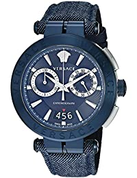 Versace Men's 'AION CHRONO' Quartz Stainless Steel and Leather Casual Watch, Color:Blue (Model: VBR070017)