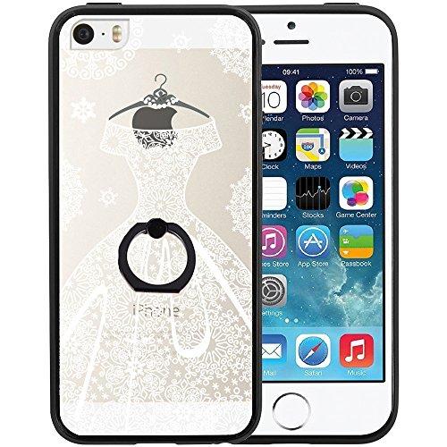Coque iPhone SE, TrendyBox Transparent Noir Givré Anti-rayures Rotation Bague Case pour iPhone 5/5S/SE avec verre trempe film de protection (Mandala Fleurs) 1025